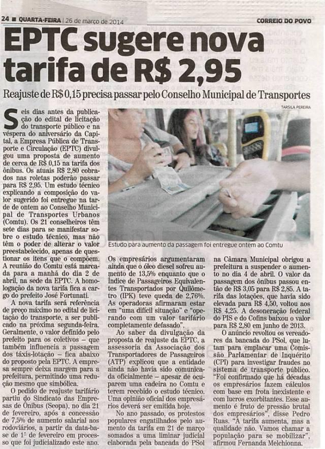 Correio do Povo - 26/03/2014 Pág. 24 'EPTC sugere nova tarifa de R$ 2,95'