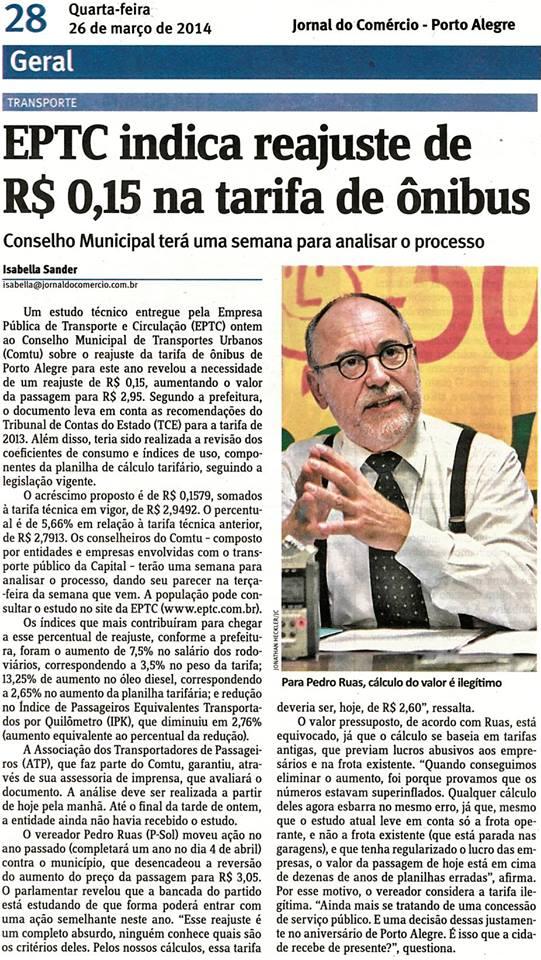 Jornal do Comércio - 26/03/2014 Pág. 28 'EPTC indica reajuste de R$ 0,15 na tarifa de ônibus'