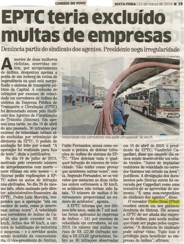 Correio do Povo também repercute a denúncia que fizemos sobre o perdão das multas da EPTC para com os empresários do transporte público de Porto Alegre.