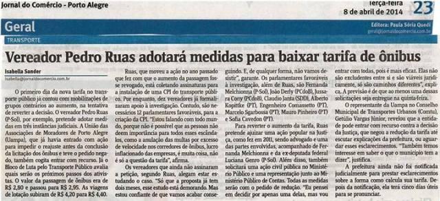 Jornal do Comércio - 08/04/2014 Pág. 23 'Vereador Pedro Ruas adotará medidas para baixar tarifa de ônibus'