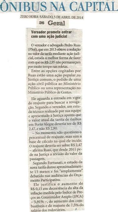 Zero Hora - 05/04/2014 Pág. 26 'Ônibus na capital'