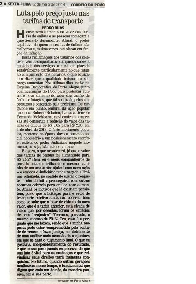 Correio do Povo - 02/05/2014 Pág. 02 'Luta pelo preço justo nas tarifas de transporte'