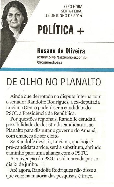 Luciana Genro poderá ser candidata a Presidente da República pelo PSOL